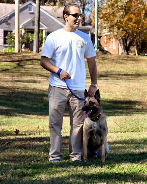 Andrew in a dog training session